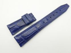 22mm/18mm Blue Genuine Crocodile Skin Leather Deployment Strap For IWC #WT2075