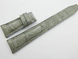 22mm Grey Genuine Crocodile Skin Leather Deployment Strap for IWC #WT456