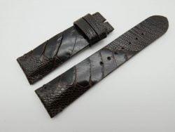 22mm Dark Brown Genuine OSTRICH Skin Leather Watch Strap #WT1173