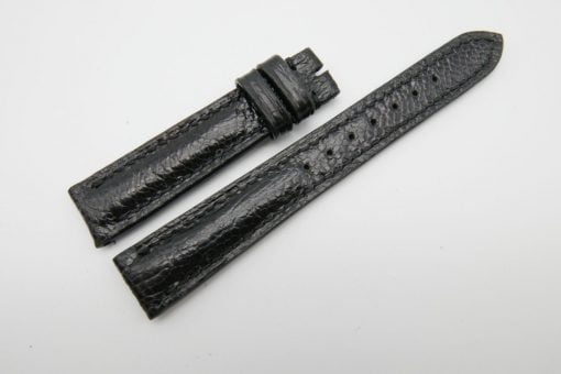 16mm Black Genuine OSTRICH Skin Leather Watch Strap #WT1228