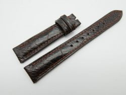 16mm Dark Brown Genuine OSTRICH Skin Leather Watch Strap #WT1229