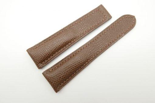 22mm Brown Genuine EPSOM Leather Deployment Strap for Omega #WT1267