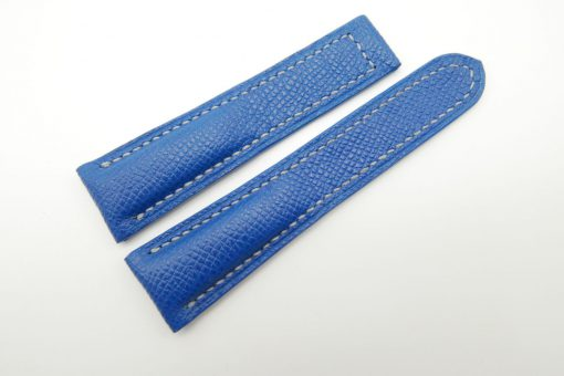 22mm Cobalt Blue Genuine EPSOM Leather Deployment Strap for Omega #WT1269
