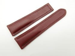 22mm Red Brown Genuine EPSOM Leather Deployment Strap for Omega #WT1271