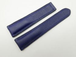 21mm Navy Blue Genuine EPSOM Leather Deployment Strap for Omega #WT1277