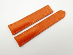 20mm Orange Genuine EPSOM Leather Deployment Strap for Omega #WT1283