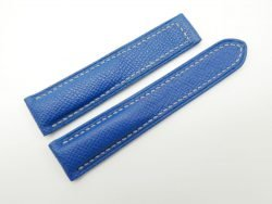 20mm Cobalt Blue Genuine EPSOM Leather Deployment Strap for Omega #WT1290