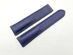 20mm Navy Blue Genuine EPSOM Leather Deployment Strap for Omega #WT1291