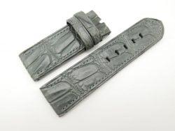 26mm/26mm Grey Genuine Crocodile Hornback Skin Leather Watch Strap for PANERAI #WT1358