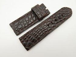 26mm/26mm Dark Brown Genuine Crocodile Skin Leather Watch Strap for PANERAI #WT1363