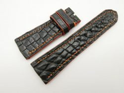 26mm/22mm Black Genuine Crocodile Skin Leather Watch Strap for PANERAI #WT1393
