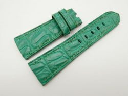 27mm/22mm Jade Green Genuine Crocodile Skin Leather Watch Strap for PANERAI #WT1412