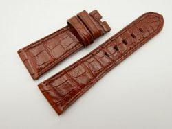 27mm/22mm Cognac Genuine Crocodile Skin Leather Watch Strap for PANERAI #WT1418