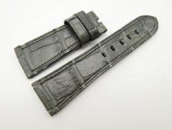 27mm/22mm Dark Grey Genuine Crocodile Skin Leather Watch Strap for PANERAI #WT1423
