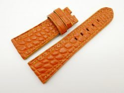 27mm/22mm Orange Genuine Crocodile Skin Leather Watch Strap for PANERAI #WT1427