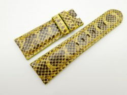 26mm/22mm Yellow Genuine Snake Skin Leather Watch Strap #WT1529