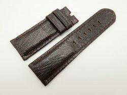 26mm/24mm Dark Brown Genuine Ostrich Skin Leather Watch Strap #WT1551