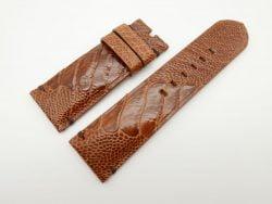 26mm/24mm Cognac Genuine Ostrich Skin Leather Watch Strap #WT1550