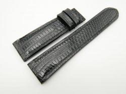 22mm/20mm Black Genuine Lizard Skin Leather Watch Strap #WT1881