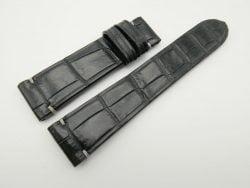 22mm/20mm Black Genuine Crocodile Skin Leather Watch Strap #WT1882