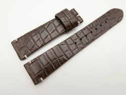 21mm/18mm Dark Brown Genuine Crocodile Skin Leather Watch Strap #WT1645
