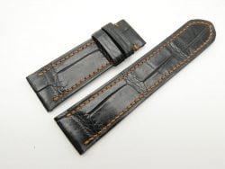 24mm/22mm Black Genuine Crocodile Skin Leather Watch Strap For Franck Muller #WT1858