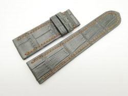 24mm/22mm Dark Grey Genuine Crocodile Skin Leather Watch Strap For Franck Muller #WT1859