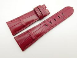 27mm/20mm Red Prune Genuine Crocodile Skin Leather Watch Strap for PANERAI #WT1691