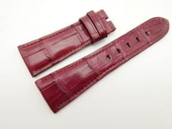 27mm/20mm Red Prune Genuine Crocodile Skin Leather Watch Strap for PANERAI #WT1692