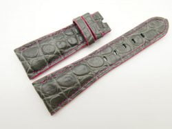27mm/20mm Grey Genuine Crocodile Skin Leather Watch Strap for PANERAI #WT1693