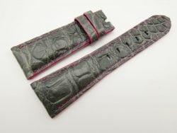 27mm/20mm Grey Genuine Crocodile Skin Leather Watch Strap for PANERAI #WT1694