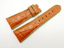27mm/20mm Orange Genuine Crocodile Skin Leather Watch Strap for PANERAI #WT1695
