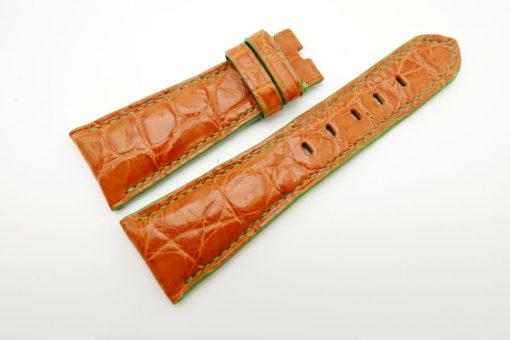 27mm/20mm Orange Genuine Crocodile Skin Leather Watch Strap for PANERAI #WT1695