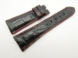 27mm/20mm Black Genuine Crocodile Skin Leather Watch Strap for PANERAI #WT1698