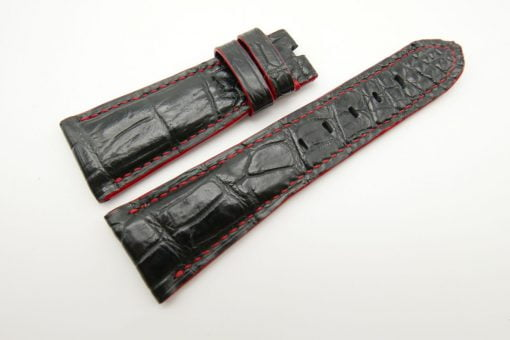 27mm/20mm Black Genuine Crocodile Skin Leather Watch Strap for PANERAI #WT1698