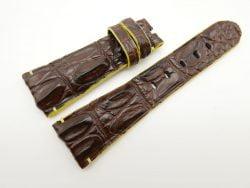 27mm/20mm Dark Brown Genuine Crocodile Skin Leather Watch Strap for PANERAI #WT1701