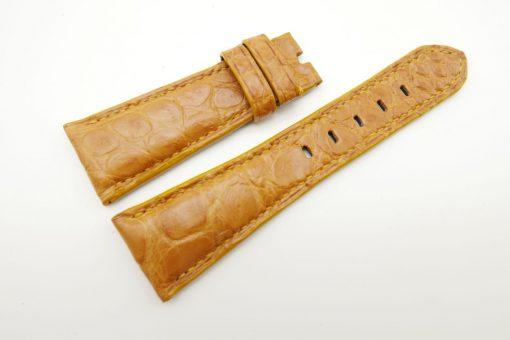 27mm/20mm Tan Brown Genuine Crocodile Skin Leather Watch Strap for PANERAI #WT1703