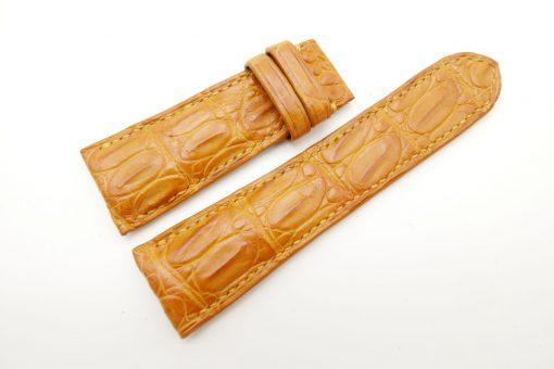 27mm/22mm Tan Brown Genuine Crocodile Skin Leather Watch Strap for PANERAI #WT1718
