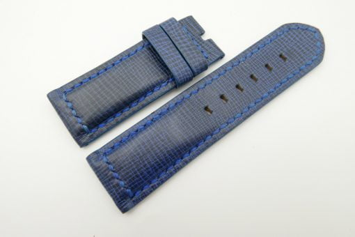 26mm/26mm Blue Wax Leather Watch Strap for Panerai #WT2005