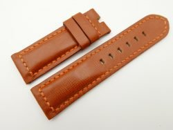 24mm/24mm Cognac Wax Leather Watch Strap for Panerai #WT2024