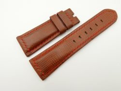 26mm/22mm Red Brown Wax Leather Watch Strap for Panerai #WT2039