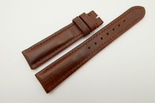 18mm/16mm Red Brown Wax Leather Watch Strap #WT2069