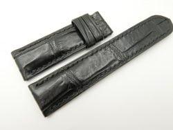 24mm/22mm Black Genuine Crocodile Skin Leather Watch Strap for PANERAI #WT2092