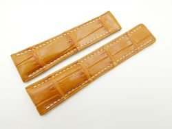 24mm/20mm Tan Brown Genuine Crocodile Skin Deployment strap for Breitling #WT2135