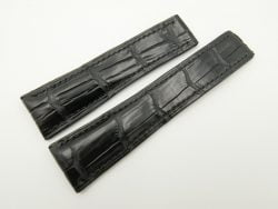 24mm/20mm Black Genuine Crocodile Skin Deployment strap for Breitling #WT2146