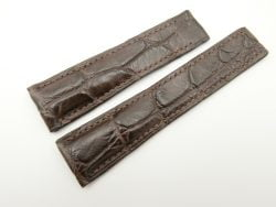 24mm/20mm Dark Brown Genuine Crocodile Skin Deployment strap for Breitling #WT2132