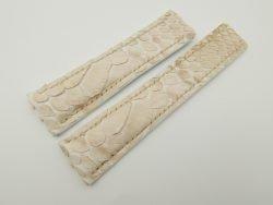 24mm/20mm Cream Genuine Python Skin Deployment strap for Breitling #WT2151