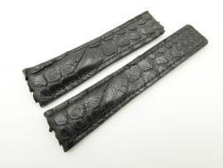 24mm/20mm Black Genuine Python Skin Deployment strap for Breitling #WT2153