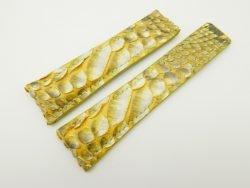 24mm/20mm Yellow Genuine Python Skin Deployment strap for Breitling #WT2154