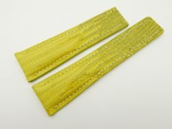 24mm/20mm Yellow Genuine Lizard Skin Deployment strap for Breitling #WT2157